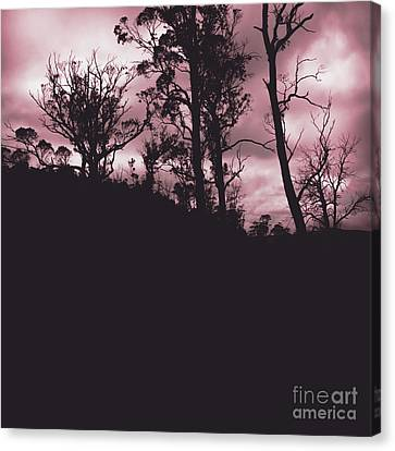 Haunted Horror Forest In Twisted Red Darkness Canvas Print by Jorgo Photography - Wall Art Gallery
