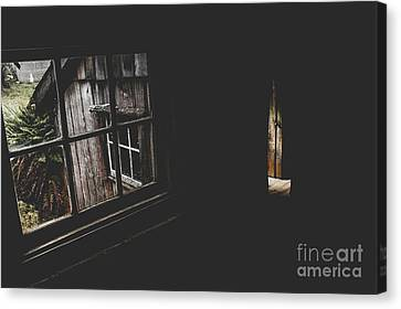 Abandoned House Canvas Print - Haunted House Window View Of Open Door In Darkness by Jorgo Photography - Wall Art Gallery