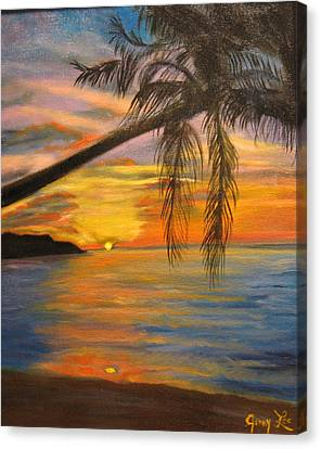 Canvas Print featuring the painting Hawaiian Sunset 11 by Jenny Lee