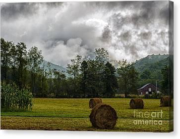 Hay Bales Barn Stormy Sky Canvas Print