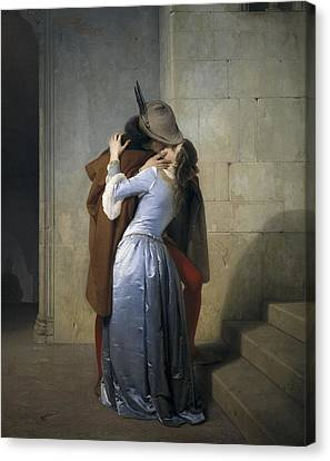 Hayez, Francesco 1791-1882. The Kiss Canvas Print by Everett