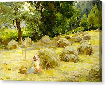 Meules Canvas Print - Haytime by Rosa Appleton