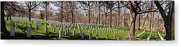 Arlington National Cemetery Canvas Print - Headstones In A Cemetery, Arlington by Panoramic Images