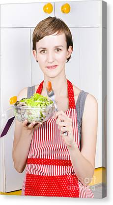 Health Conscious Woman Eating Green Salad Canvas Print by Jorgo Photography - Wall Art Gallery