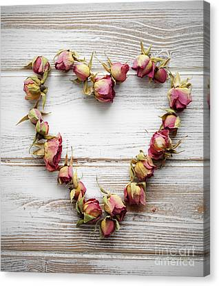 Heart From Dry Rose Buds Canvas Print