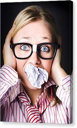 Hectic Business Person Under Stress Overload Canvas Print