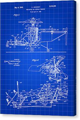 Helicopter Patent 1940 - Blue Canvas Print by Stephen Younts