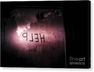 Help Written On A Misty Glass Window. No Escape Canvas Print