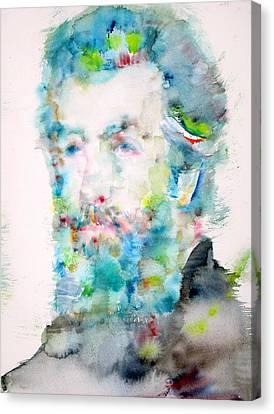Herman Melville - Watercolor Portrait Canvas Print by Fabrizio Cassetta