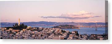 High Angle View Of A City, Coit Tower Canvas Print