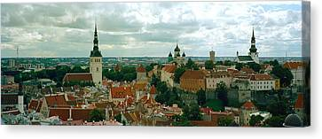 High Angle View Of A Townscape, Old Canvas Print