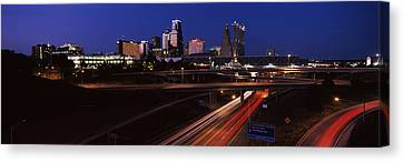 Highway Interchange And Skyline Canvas Print by Panoramic Images