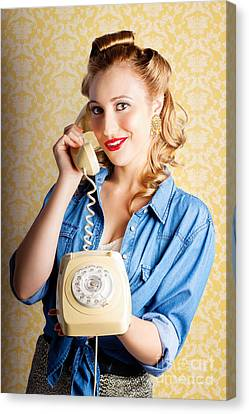 Hip Retro Girl Talking On Vintage Telephone Canvas Print by Jorgo Photography - Wall Art Gallery