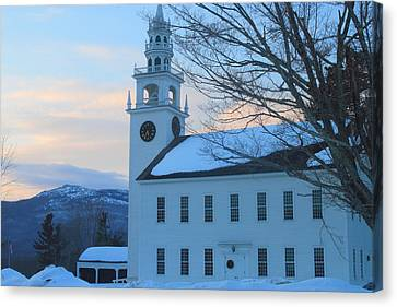Historic Jaffrey Meetinghouse And Mount Monadnock Canvas Print by John Burk