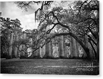 Historic Sheldon Church 4 Bw Canvas Print by Carrie Cranwill