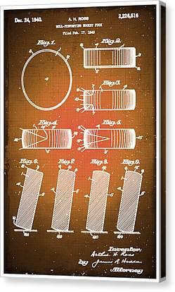 Nhl Hockey Canvas Print - Hockey Puck Patent Blueprint Drawing Sepia by Tony Rubino