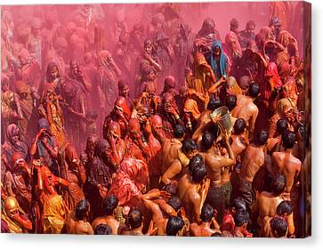 Holi Festival At A Temple, Mathura Canvas Print by Peter Adams