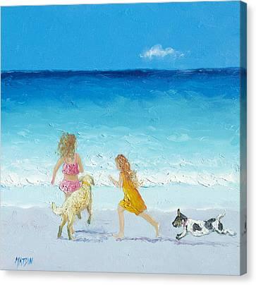 Golden Retrievers On Canvas Print - Holiday Fun by Jan Matson