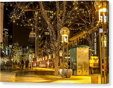 Holiday Lights In Denver Colorado Canvas Print by Teri Virbickis