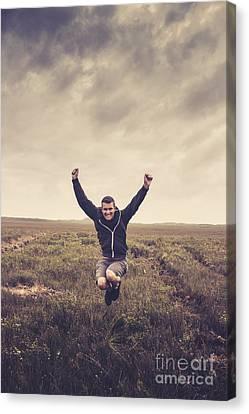 Holiday Man Jumping On Rural Australia Landscape Canvas Print