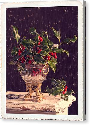 Holly Berry Still Life Canvas Print - Holly And Berries by Amanda Elwell