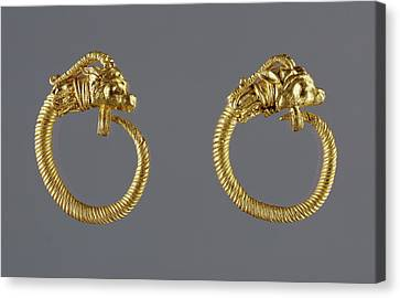 Hoop Earrings With Antelope-head Finials Unknown Alexandria Canvas Print by Litz Collection