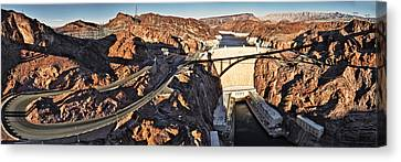 Hoover Dam From Bridge, Lake Mead Canvas Print by Panoramic Images