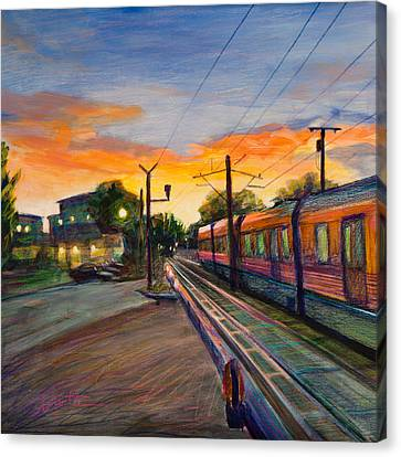 Train Crossing Canvas Print - Hope Crossing by Athena Mantle