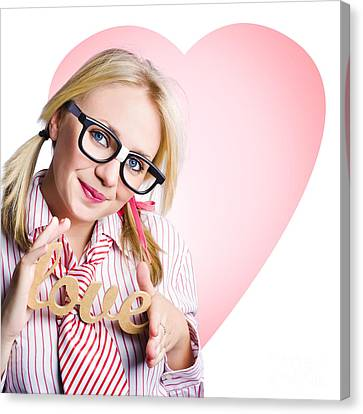 Hopeless Romantic Girl Showing Signs Of Love Canvas Print by Jorgo Photography - Wall Art Gallery