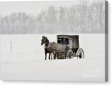 Horse And Buggy In Snow Storm Canvas Print by Dan Friend