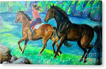 Horse Riding In Lake Canvas Print by Manuel Cadag