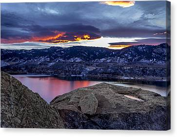 Horsetooth At Sunset Canvas Print by Bob Younger