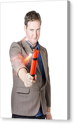 Hostile Male Office Worker Holding Flaming Bomb Canvas Print by Jorgo Photography - Wall Art Gallery