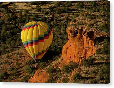 Hot Air Balloon, Red Rock, Coconino Canvas Print by Michel Hersen
