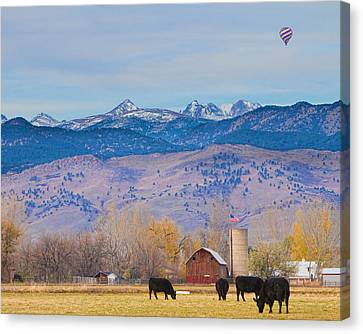 Barn Canvas Print - Hot Air Balloon Rocky Mountain County View by James BO  Insogna
