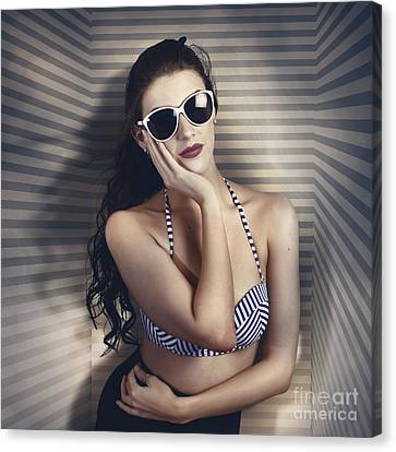Hot Summer Fashion Beauty In Sunglasses And Bikini Canvas Print by Jorgo Photography - Wall Art Gallery