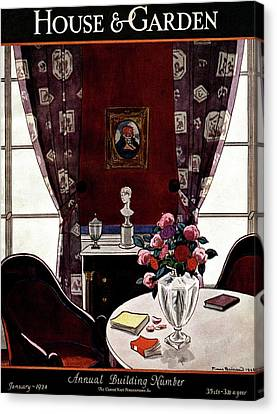 Rose Patterned Curtains Canvas Print - House And Garden Annual Building Number Cover by Pierre Brissaud