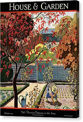 House And Garden Fall Planting Number Cover Canvas Print