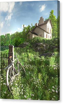 House On The Hill Canvas Print by Cynthia Decker