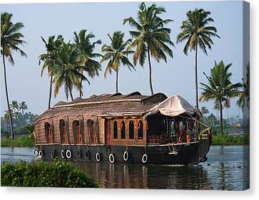 Houseboat On The Backwaters Of Kerala Canvas Print by Keren Su
