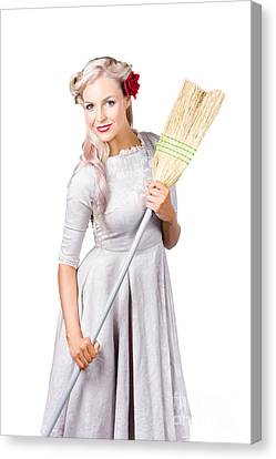 Youthful Canvas Print - Housemaid With Broom by Jorgo Photography - Wall Art Gallery
