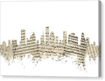 Houston Texas Skyline Sheet Music Cityscape Canvas Print by Michael Tompsett