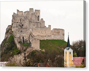 Canvas Print featuring the photograph Hrad Beckov - Castle by Les Palenik
