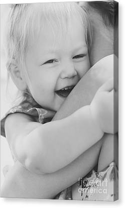 Hugging Mother And Daughter In Black And White Canvas Print
