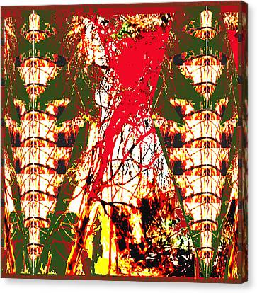 Human Like Totem Pole Angel And Fire In The Jungle Abstract Using Nature Photography Unique Signatur Canvas Print