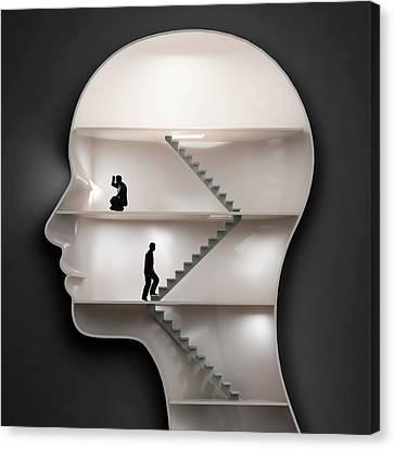 Human Head Canvas Print - Human Mind by Andrzej Wojcicki