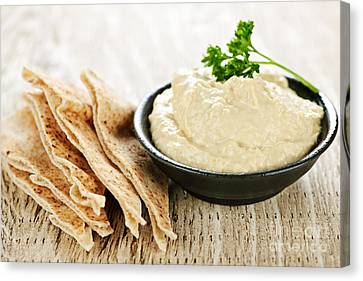 Hummus With Pita Bread Canvas Print by Elena Elisseeva