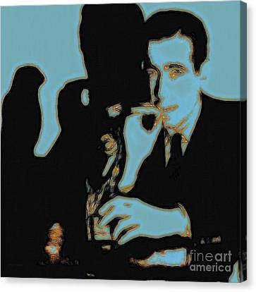 Sam Spade Canvas Print - Humphrey Bogart And The Maltese Falcon 20130323m88 Square by Wingsdomain Art and Photography