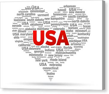 I Love Usa Canvas Print