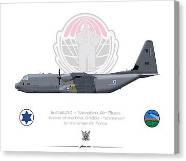 Canvas Print featuring the drawing Isralei Air Force C-130j Shimshon by Amos Dor